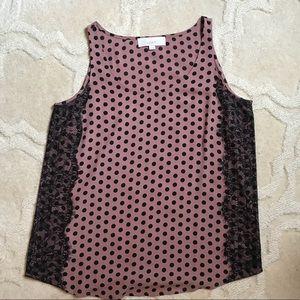 Ann Taylor LOFT mauve/black polka dot lace tank
